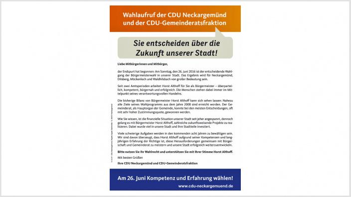 CDU Neckargemünd und CDU-Gemeinderatsfraktion für Bürgermeister Horst Althoff